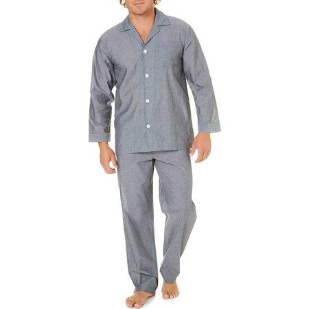 Geoffrey Beene Mens Solid Long Sleeve Pajama Set