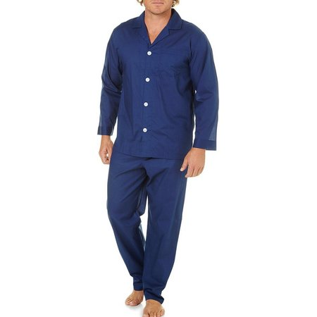 IZOD Mens Navy Blue Solid Pajama Set