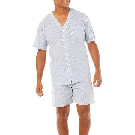 Geoffrey Beene Mens Mini Stripe Pajama Shorts Set