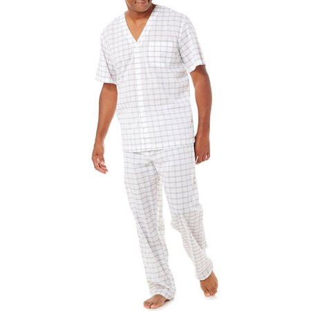 Geoffrey Beene Mens Window Pane Pajama Set