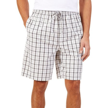 Nautica Mens Woven Plaid Lounge Pajama Shorts