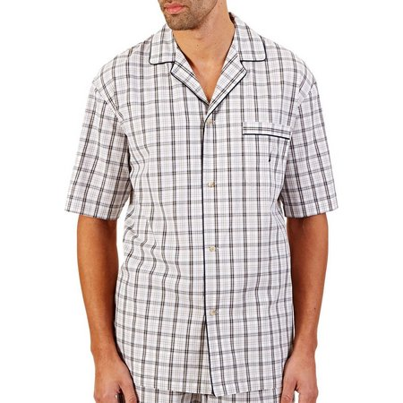 Nautica Mens Woven Plaid Camp Lounge Shirt