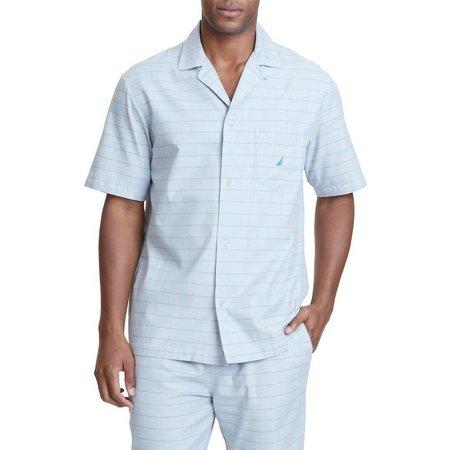 Nautica Mens Herringbone Plaid Pajama Shirt