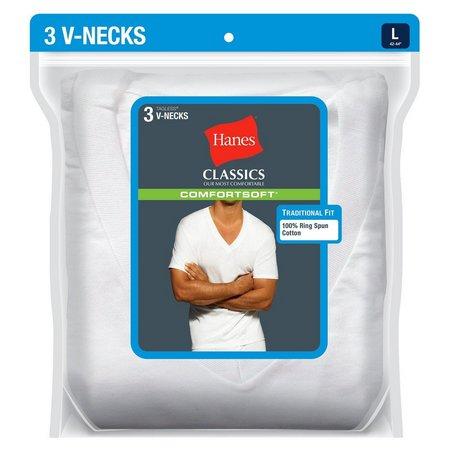 Hanes 3-pk. White V-Neck T-Shirts