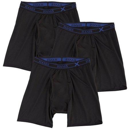 Hanes Mens 3-pk. Black X-Temp Boxer Briefs