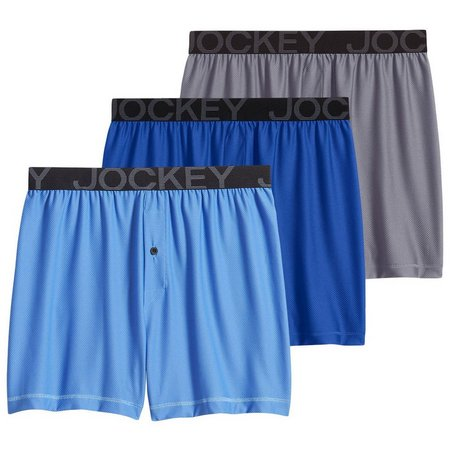 Jockey Mens 3-pk. Blue Multi Active Mesh Boxers