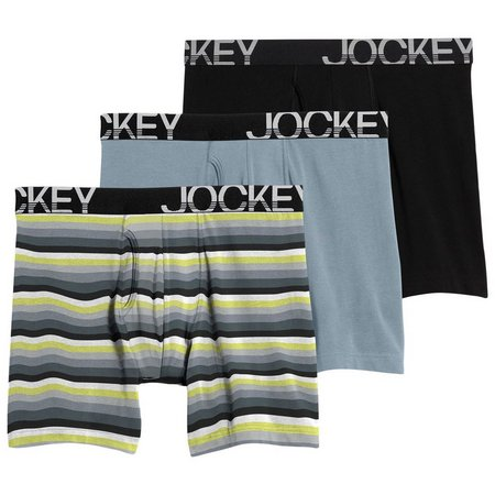 Jockey Mens 3-pk. Stripe Active Midway Briefs