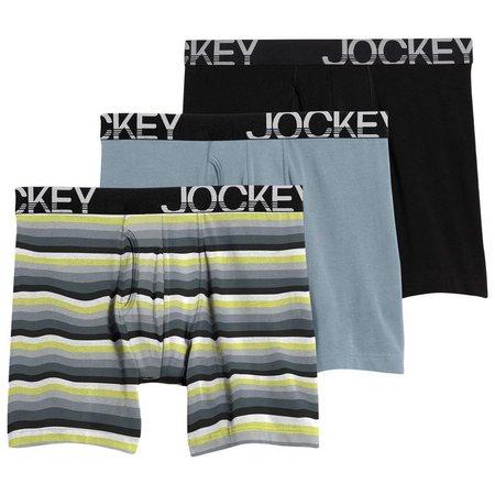 Jockey Mens 3-pk. Grey Stripe ActiveStretch Midway Briefs