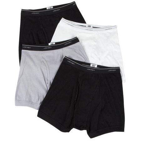 New! Jockey 4-pk. Classics Black-Grey Boxer Briefs