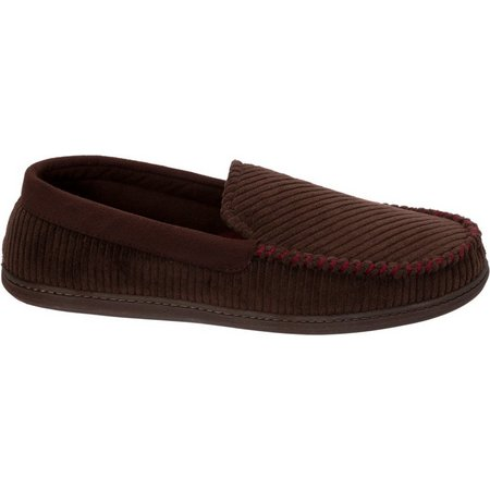 Dearfoams Mens Colorblock Moccasin Slippers
