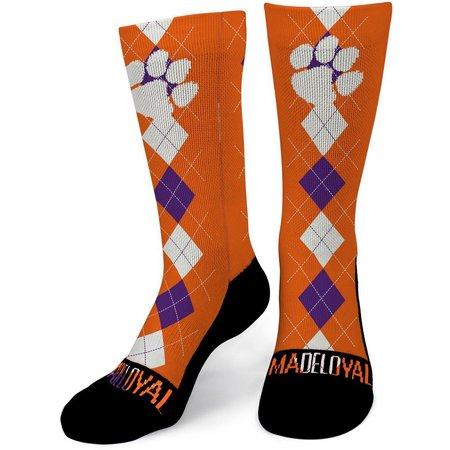 Clemson Tigers Mens Argyle Performance Crew Socks