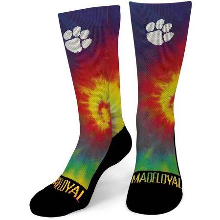 Clemson Tigers Mens Tie Dye Performance Crew Socks