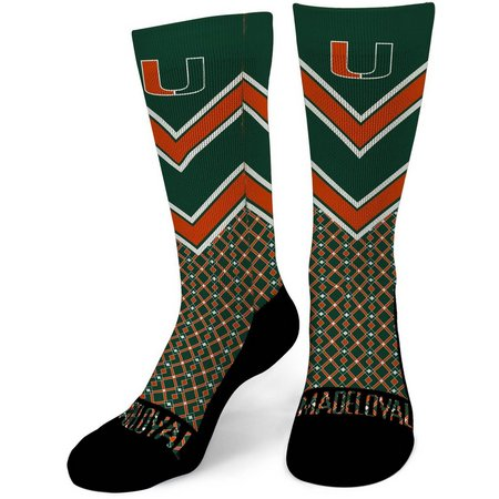 Miami Hurricanes Mens Dart Performance Crew Socks