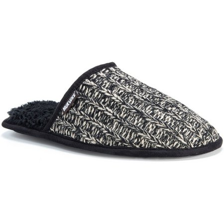 Muk Luks Mens Black & White Knit Slippers