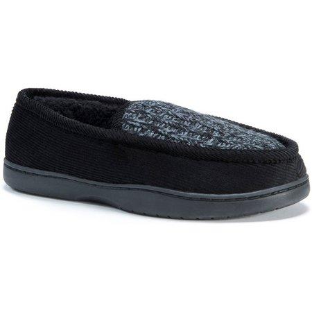 Muk Luks Mens Black Marl Knit Henry Slippers