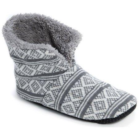 Muk Luks Mens Diamond Print Boot Slippers
