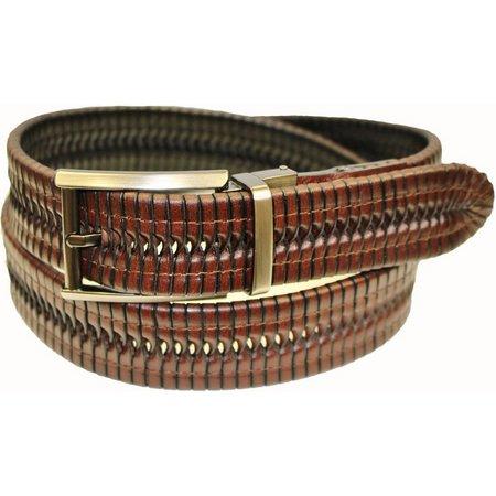 IZOD Mens Brown & Black Reversible Braid Belt