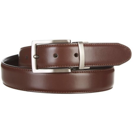 New! Dockers Mens Cognac Reversible Leather Belt