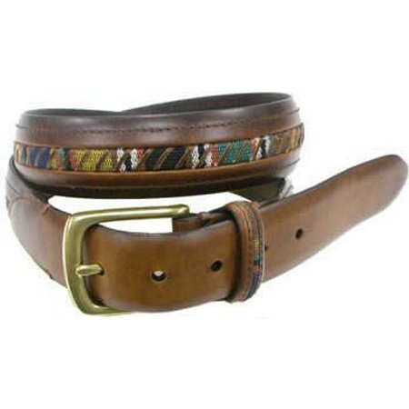 Columbia Sportswear Mens Fabric Inset Leather Belt
