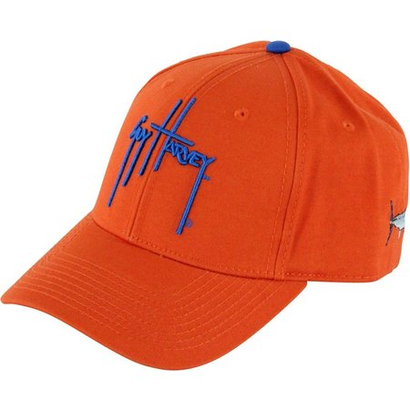 Guy Harvey Mens Orange Team Twill Hat