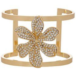 Vince Camuto Pave Crystal Flower Cuff Bracelet
