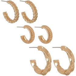 Vince Camuto 3 Pr Textured Gold Tone Hoop Earrings