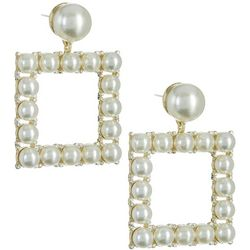 Vince Camuto Drama Pearl Square Drop Earrings