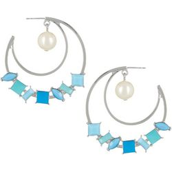 Vince Camuto Blue Multi Pearl C Hoop Earrings
