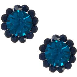 Vince Camuto Blue Multi Stone Halo Stud Earrings