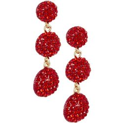 Vince Camuto Red Triple Crystal Drop Earrings