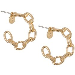 Vince Camuto Goldtone Chain C-Hoop Post Earrings
