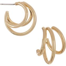 Vince Camuto Goldtone 3-Row C-Hoop Post Earrings