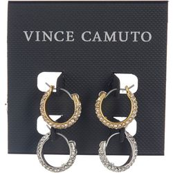 Vince Camuto 2-pc. Two Tone Crystal Hoop Earring Set
