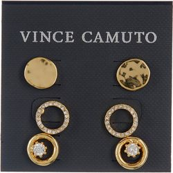 Vince Camuto 3 Pc. Goldtone Round Stud Earrings