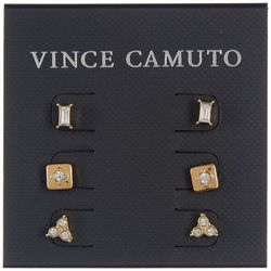 Vince Camuto 3-Pc Goldtone Rhinestone Accent Post Earrings