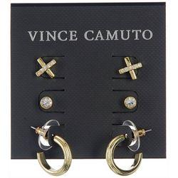 Vince Camuto 3-Pc Rhinestone X And Hoop Post Earrings Set