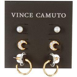 Vince Camuto 3 Pc. Goldtone Pearl, Moon, Hoop Stud Earrings