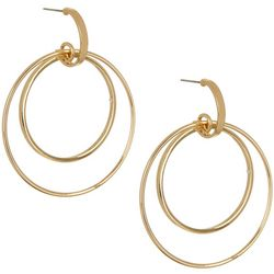 Vince Camuto Gold Tone Double Ring Drop Earrings