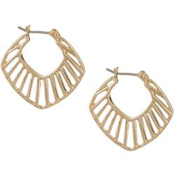 Vince Camuto Gold Tone Flat Cut Out Hoop Earrings