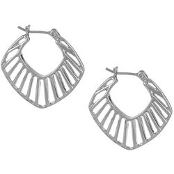 Vince Camuto Silver Tone Cut Out Hoop Earrings
