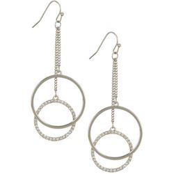 Vince Camuto Crystal Double Ring Dangle Earrings