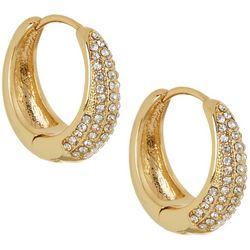 Vince Camuto Gold Tone & Crystal Huggie Earrings