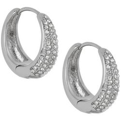 Vince Camuto Crystal & Silvertone Huggie Earrings