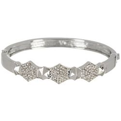 Vince Camuto Crystal Silver Tone Hinged Bangle
