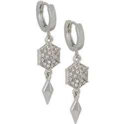 Vince Camuto Crystal Huggie Hoop Drop Earrings