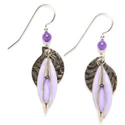 Silver Forest Layered Purple Drop Earrings