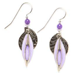 Silver Forest Layered Purple Drop Earrings