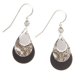 Silver Forest Black Teardrop Earrings
