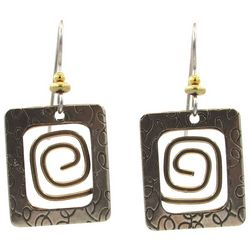 Silver Forest Two Tone Textured Rectangle Drop Earrings