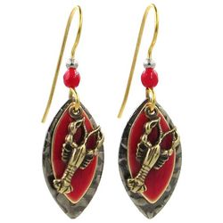 Silver Forest Gold Tone & Red Layered Lobster Earrings